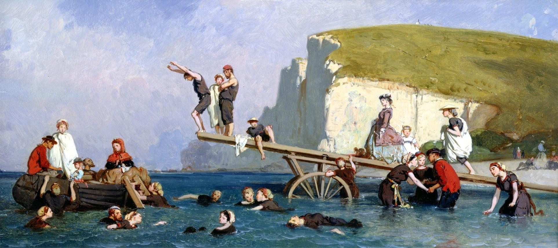 Flânerie Normande avec Eugène Le Poittevin-Baignade à Étretat-ParisBazaar-Vicaire